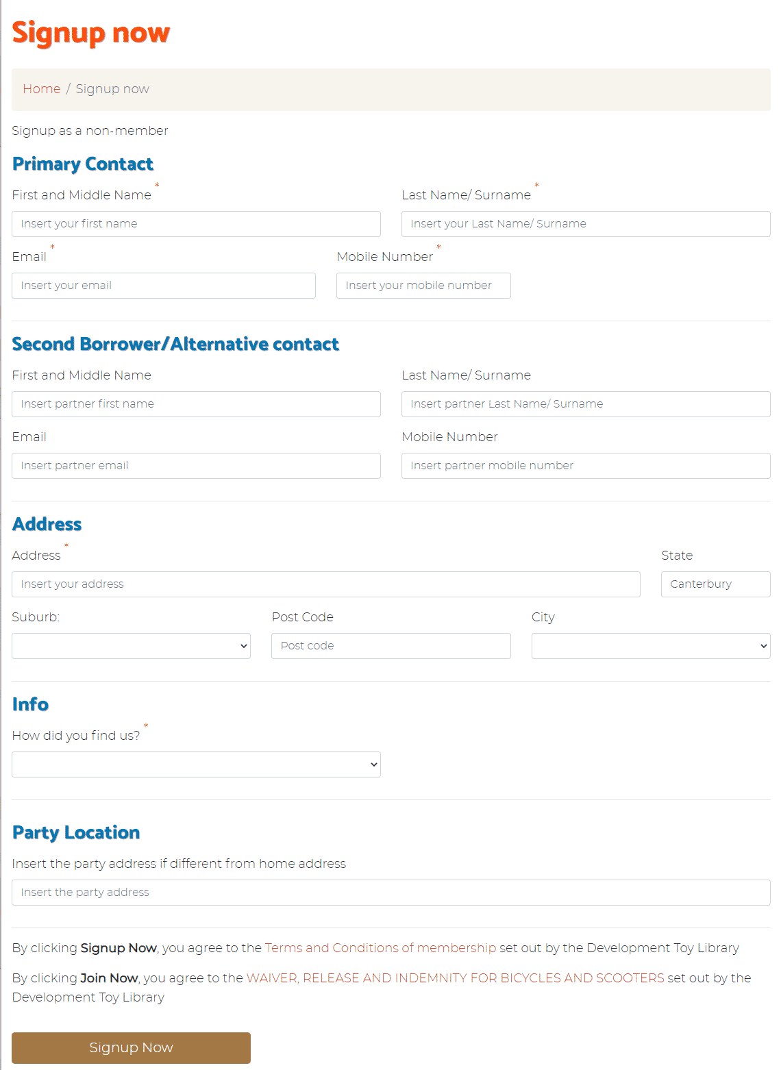 Party Pack Signup form