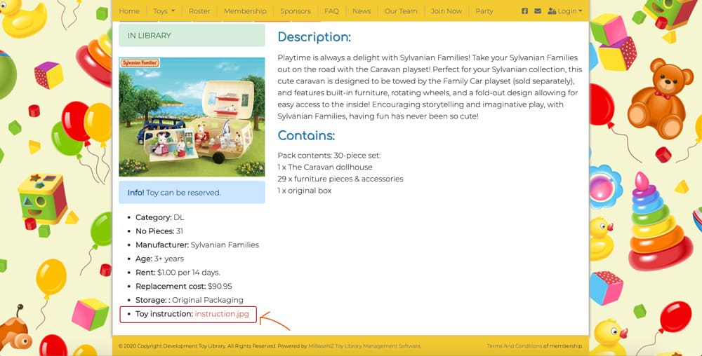 Toy Detail Page in Public website