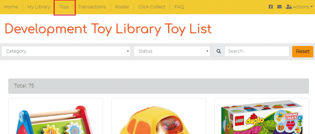 Toy List page