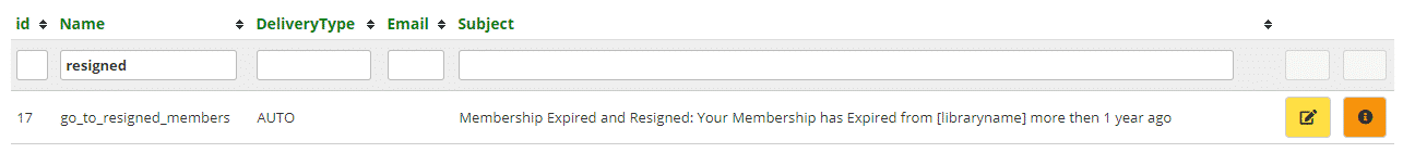 Resigned members email template