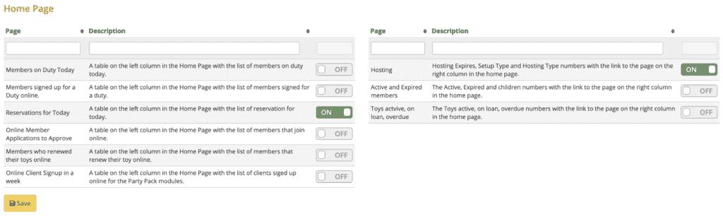 Volunteer Setup - Home Page section