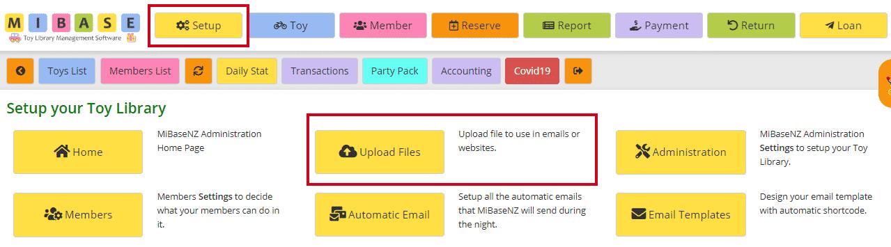Uploading files in Setup