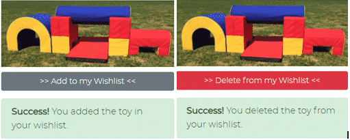 Adding & deleting toys from the wishlist