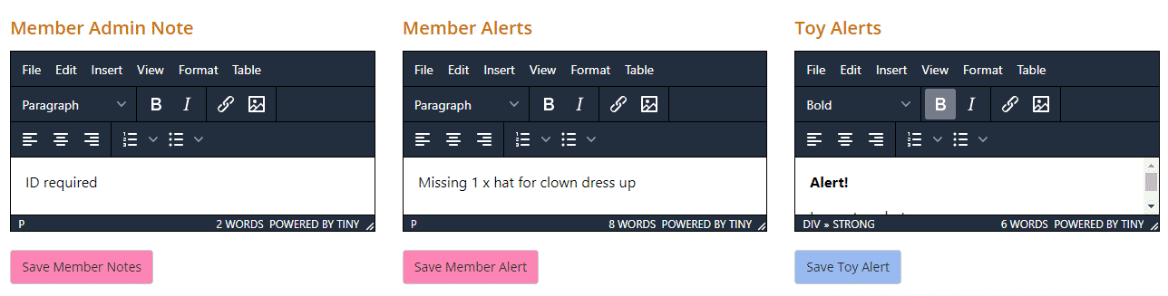 Alert boxes in the Loan page