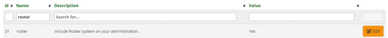 Roster settings for admin website