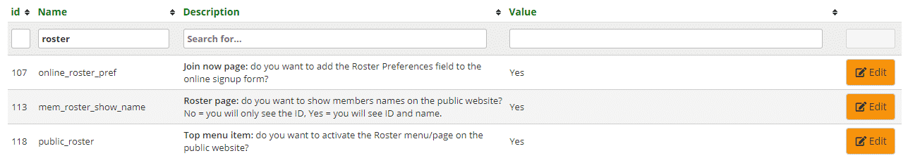 Roster settings for Public Website