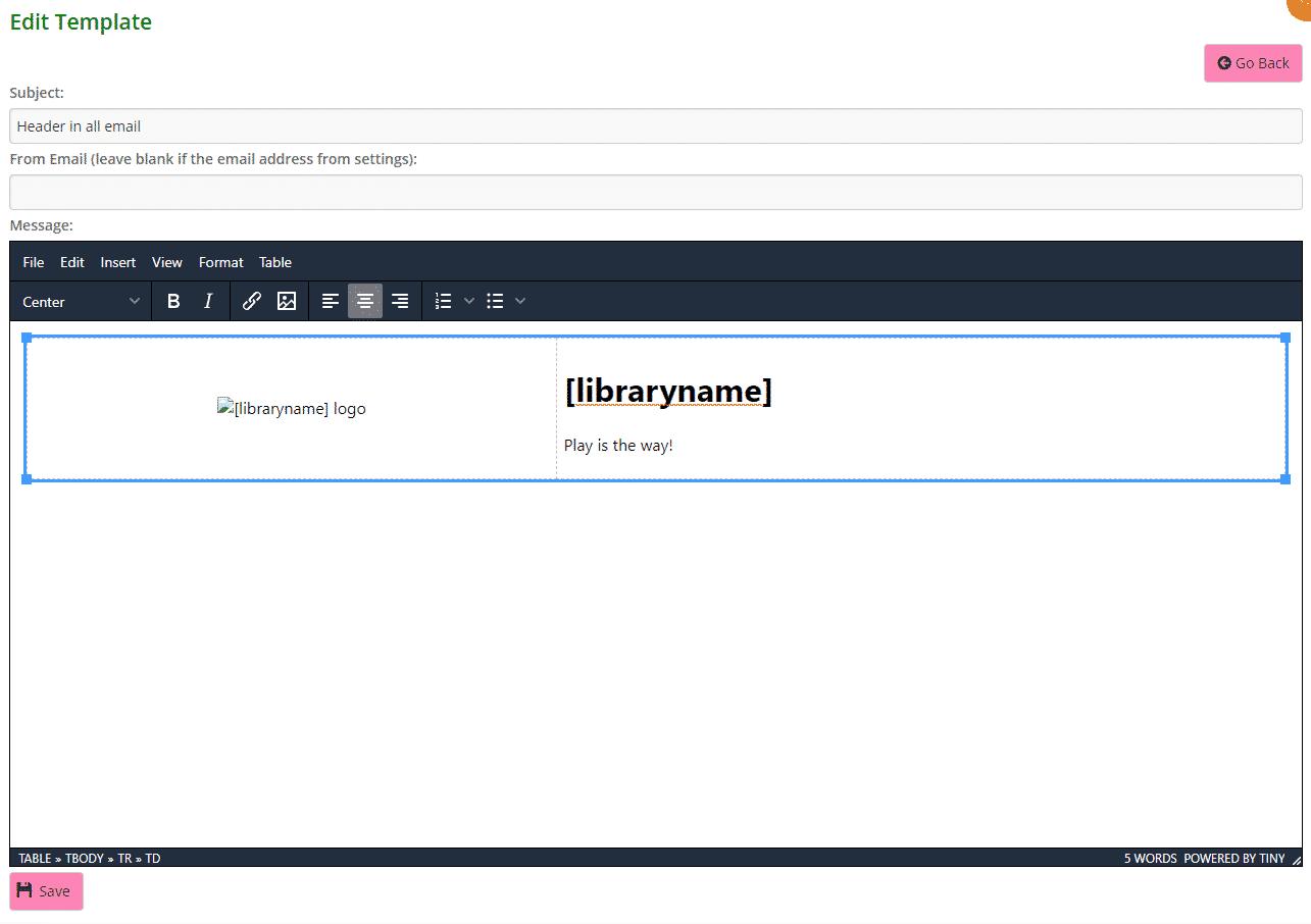 Editing header template