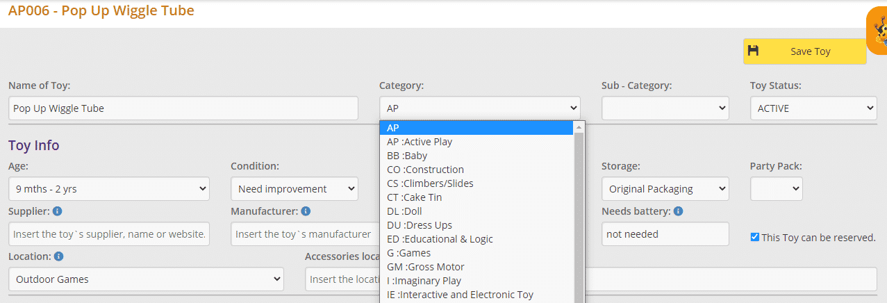 Toy category dropdown menu