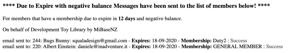 negative balance report