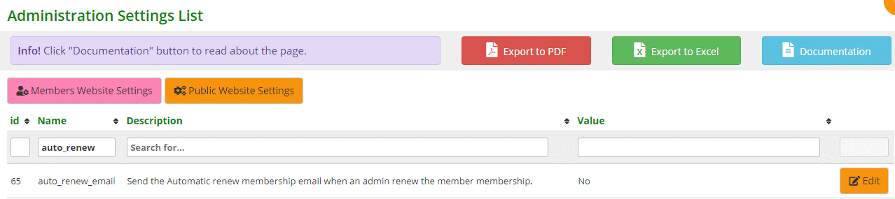 Auto renew email setting