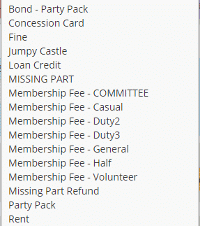 Payment categories