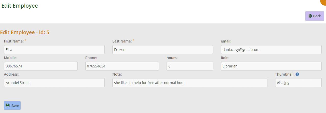 Editing an employee's details