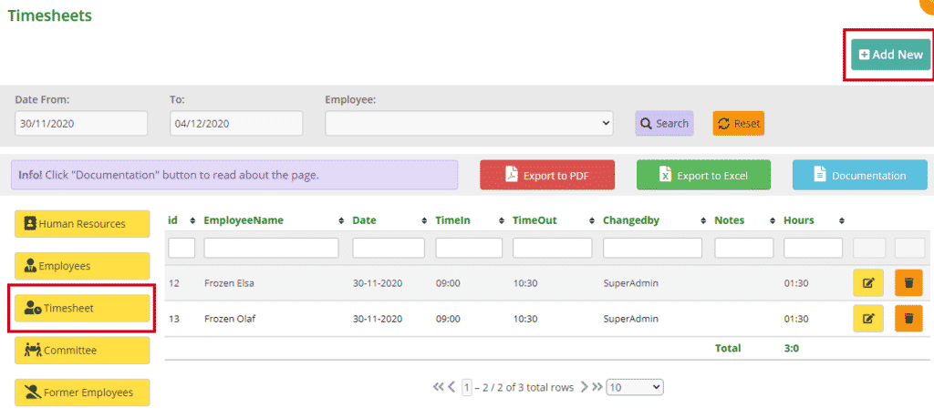 Timesheet page - MiBaseNZ - Toy Library Management System