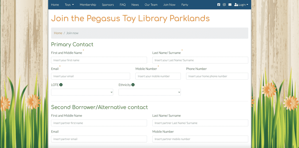 Join Now Page - Pegasus Toy Library