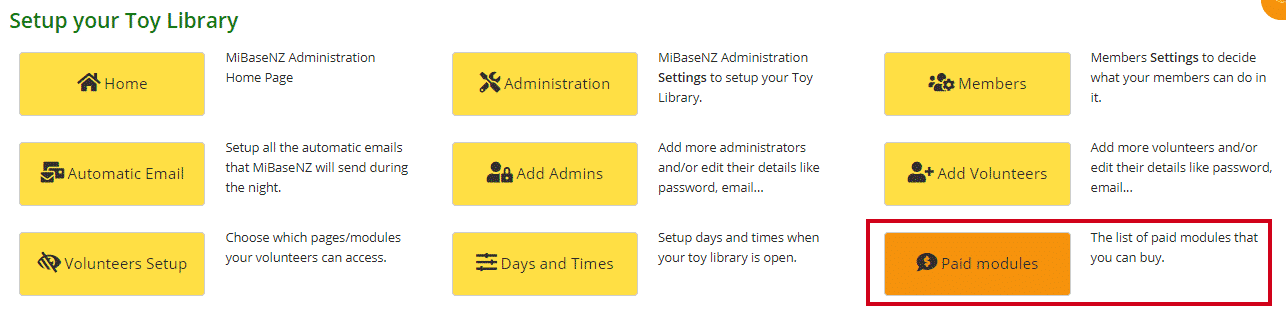 Paid Modules page