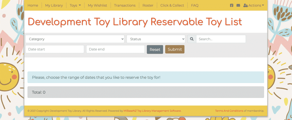 Reservable Toy Page with date