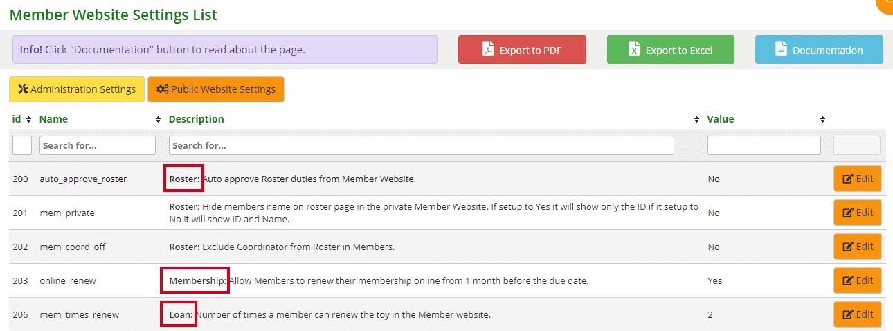 Member Website settings