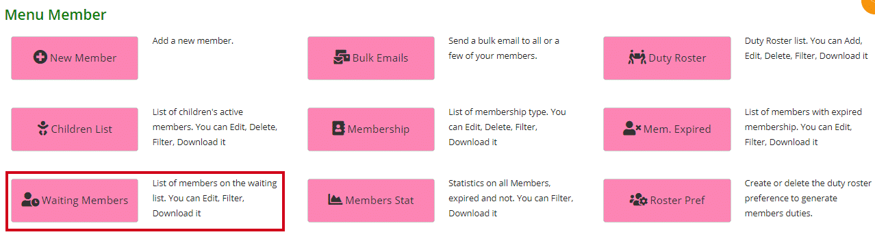Waiting Members page