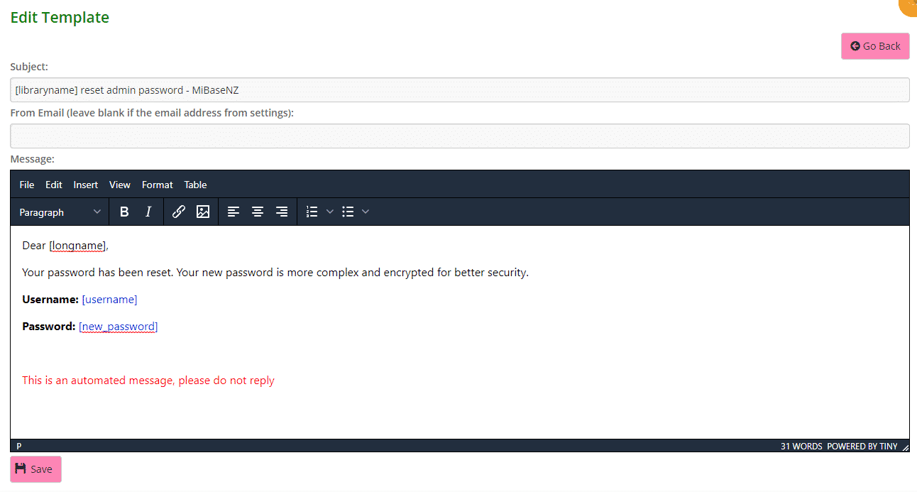 New password email template